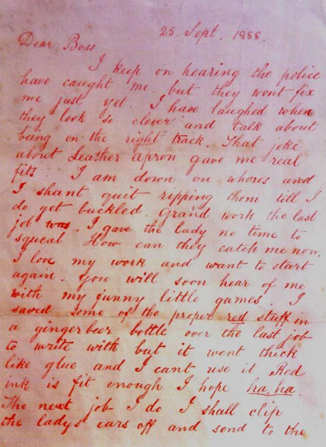A letter to the police from Jack the Ripper (U.S. National Archives–public domain)